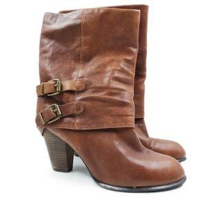 Hive & Honey Leather Stacked Heel Slip On Boots